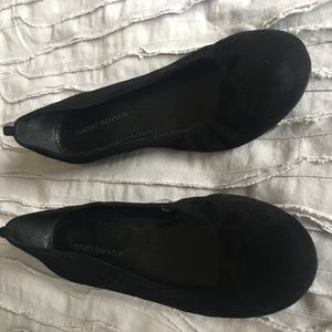 Black Flats, suede-like material, Size 9.5